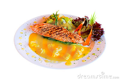 Entree of salmon steak