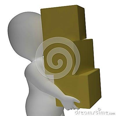 A entrega pelo caráter 3d mostra os pacotes postais