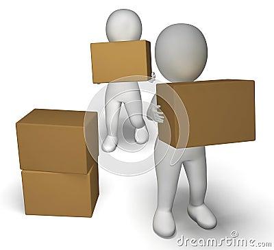 Entrega pelos caráteres 3d que mostram pacotes moventes