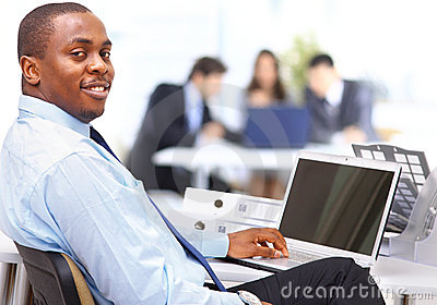 Entrepreneur displaying computer laptop