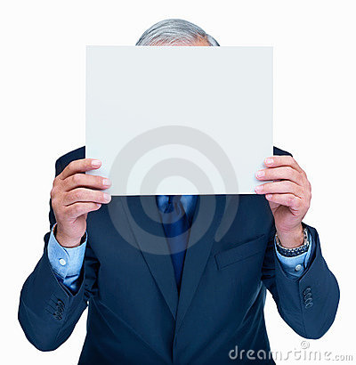 Entrepreneur holding blank billboard over his face