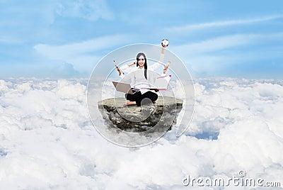 Entrepreneur multitasking above clouds
