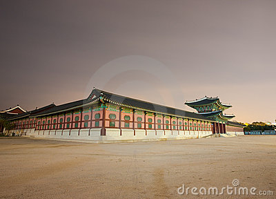 Entry Gate Gyeongbokgung Night Angled