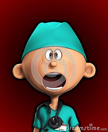 Entsetzter Chirurg