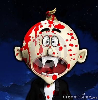 Entsetzter Karikatur-Vampir