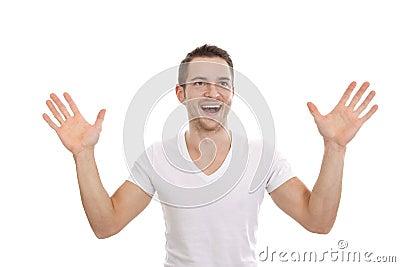 Entusiastisk lycklig man med händer upp