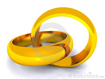 Entwined gold rings on white background