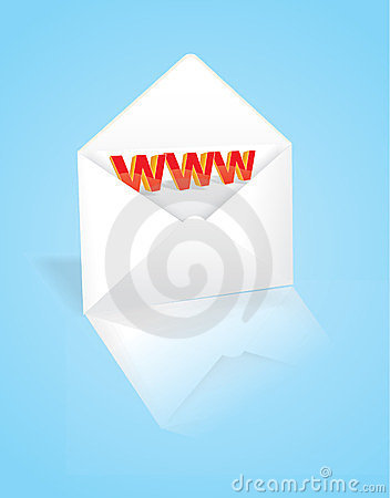 The envelope with the address of the web