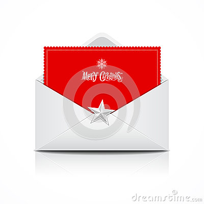 Free Envelope And Red Card Merry Christmas Royalty Free Stock Image - 27651166