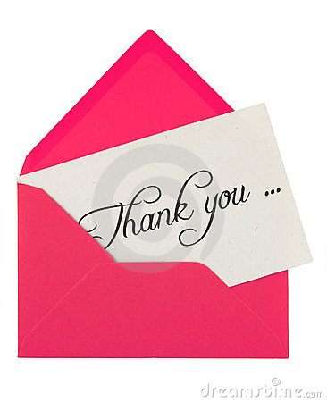 Free Envelope And Thank You Note Royalty Free Stock Image - 3966216