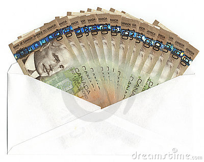 Envelope with Canadian one hundred dollar bills