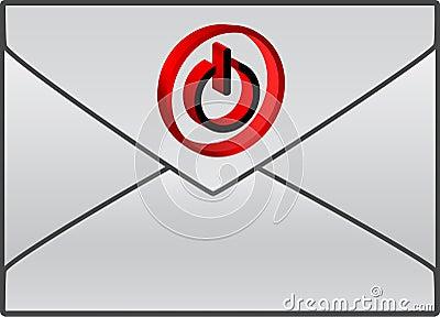 Envelope com símbolo vermelho da potência