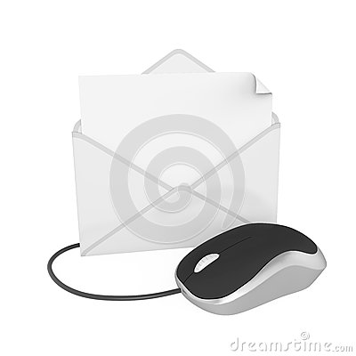 Envelope with Computer Mouse Isolated Stock Photo