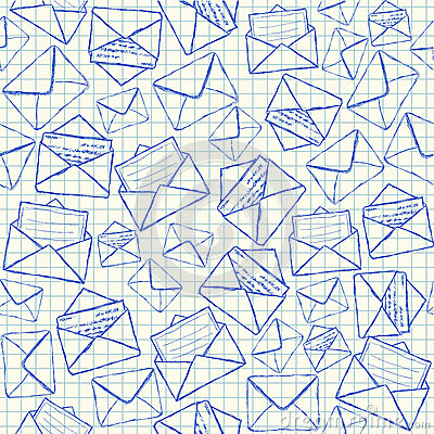 Envelope doodles seamless pattern