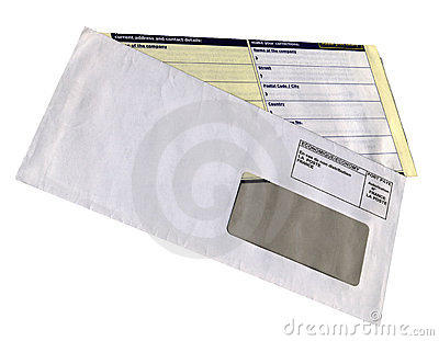 Envelope with empty questionnaire form, isolated,