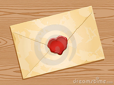 Envelope with heart wax seal wood background