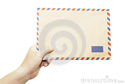 Envelope in the left hand