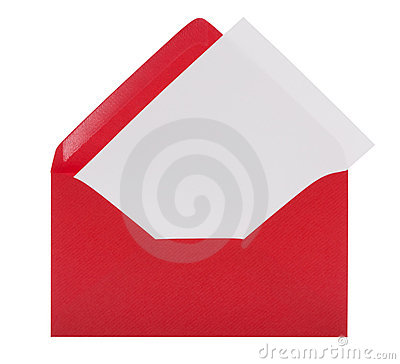 Envelope with letter-paper and clipping path