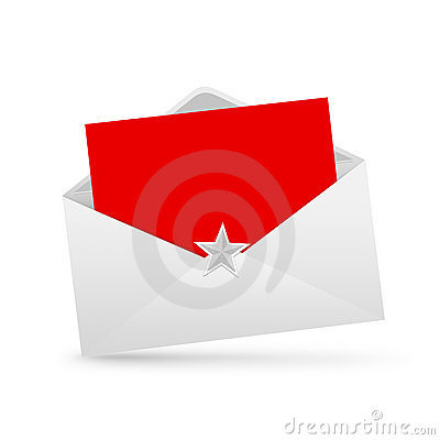 Envelope letter and red paper