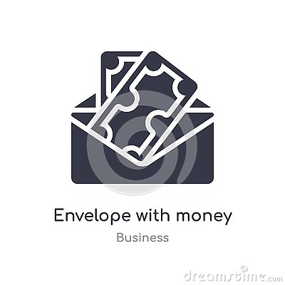 envelope with money inside outline icon. isolated line vector illustration from business collection. editable thin stroke envelope Vector Illustration