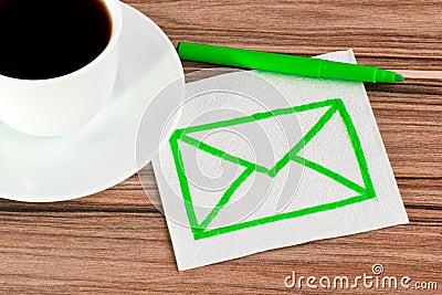 Envelope on a napkin