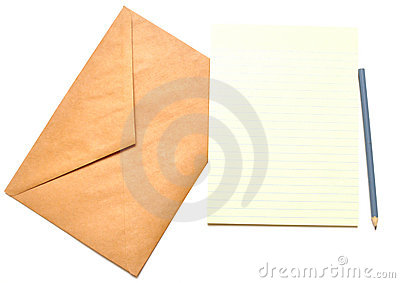 Envelope with notepad and pencil