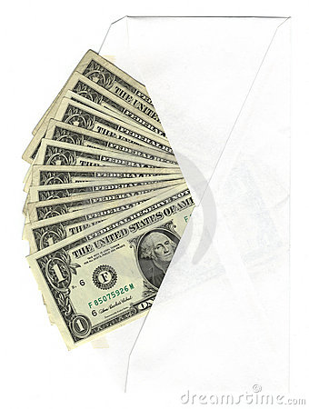 Envelope with one dollar bills