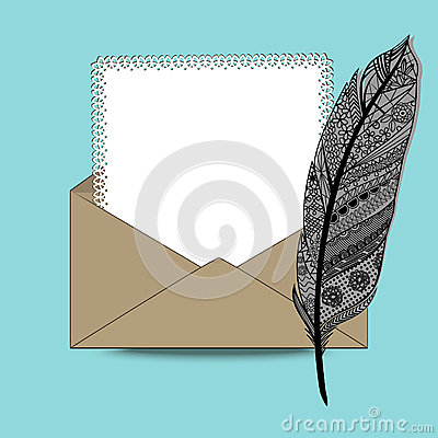 Envelope with paper and feather pen