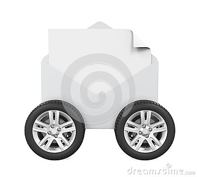 Envelope with Wheels Isolated Stock Photo