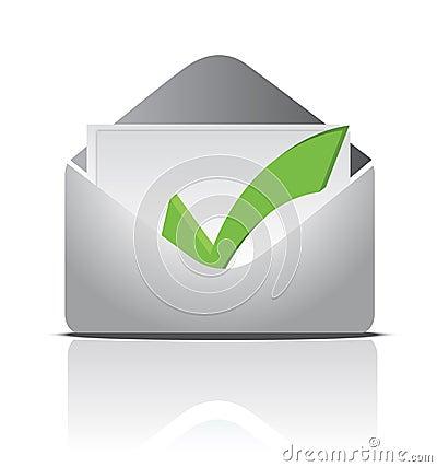 Envelope white a check mark inside illustration