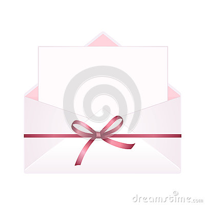 Free Envelope With Clean Card And Red Bow Ribbon. Royalty Free Stock Photo - 91709035