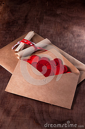 Free Envelope With Lots Of Red Hearts. Royalty Free Stock Photo - 48715195