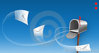 Envelopes around a mailbox