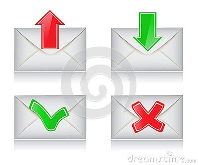 Envelopes with the arrows and signs