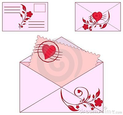 envelopes with floral ornament and heart.