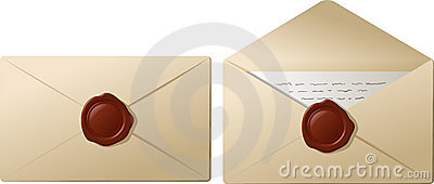 Envelopes with sealing wax
