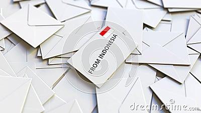Enveloppe avec du texte De l'Indonésie sur pile d'autres enveloppes Animation 3D conceptuelle liée au courrier international banque de vidéos