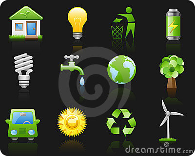 Environment_black background icon set