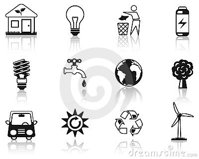 Environment black icon set.