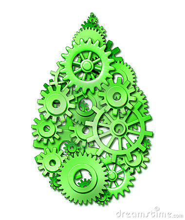 Environment green drop made of gears and cogs