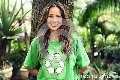 Environmental activist  wearing recycle t-shirt
