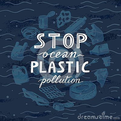 Environmental banner plastic garbage trash marine life in our ocean and text stop plastic pollution Vector Illustration