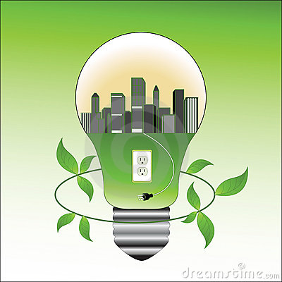 Environmental concept lightbulb and city