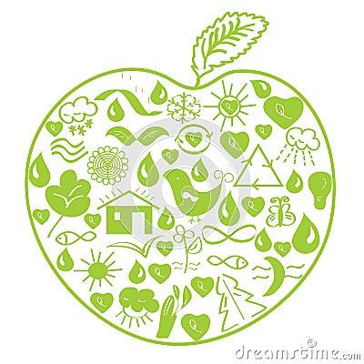 Environmental green apple