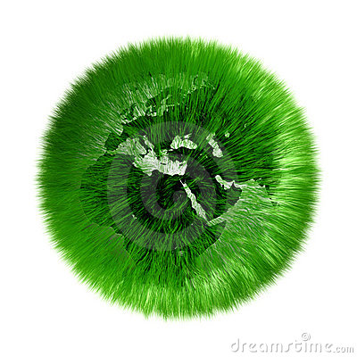 Environmental green grassed earth globe