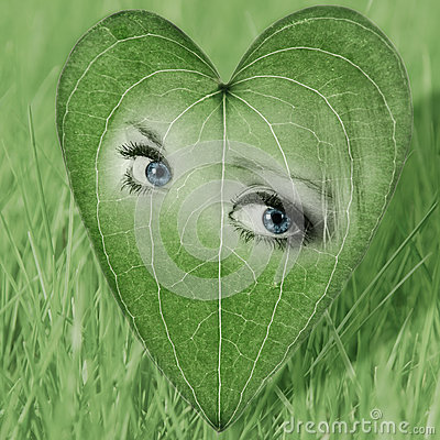 Environmental image with eyes in a heart-shaped le