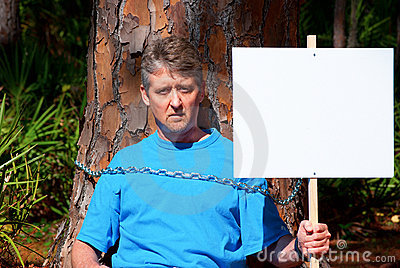 Environmentalist protesting deforestation