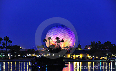 Epcot Globe at night time Editorial Image