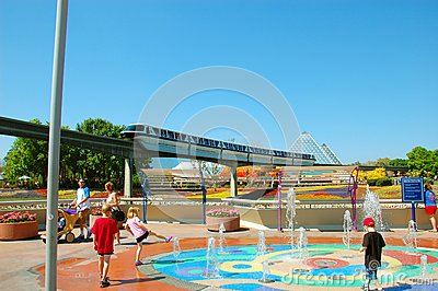 Epcot Pyramid and Monorail Editorial Stock Photo