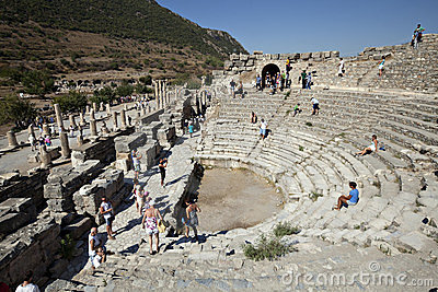 Ephesus Izmir odeion indyk Obraz Editorial